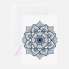 Dark Blue Floral Mandala Greeting Cards