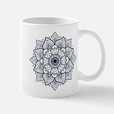 Dark Blue Floral Mandala Mugs