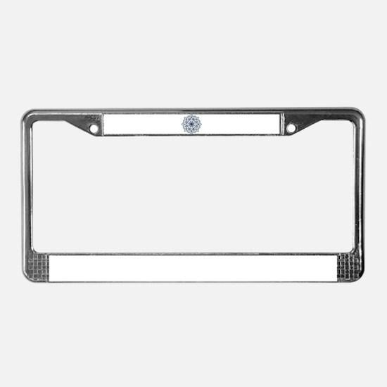 Dark Blue Floral Mandala License Plate Frame