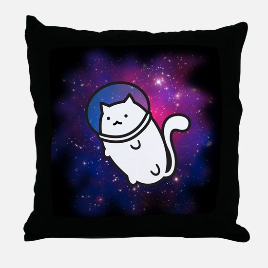 Fat Cat in Space Throw Pillow