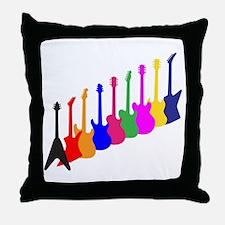 Modern Guitar Silhouettes Throw Pillow