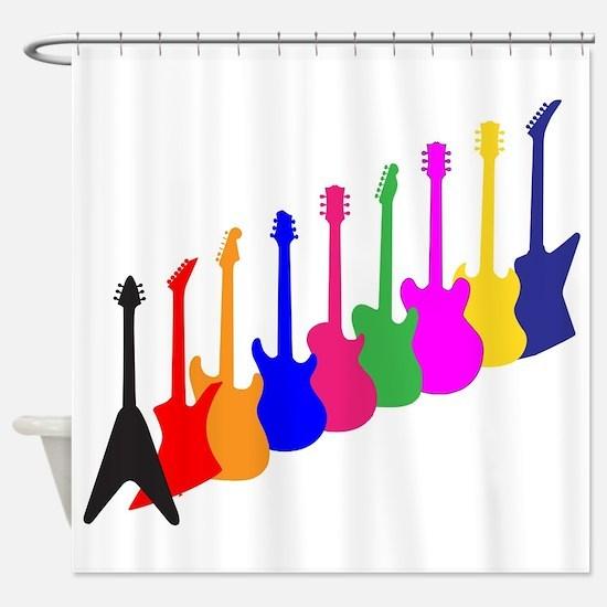 Modern Guitar Silhouettes Shower Curtain
