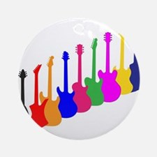 Modern Guitar Silhouettes Round Ornament
