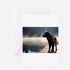 Flat Coat in the Fo Greeting Cards