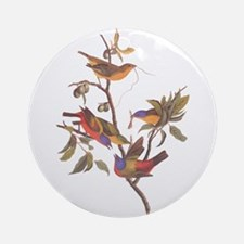 Painted Bunting Birds In Wild Olive Round Ornament