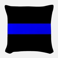 Police: The Thin Blue Line Woven Throw Pillow