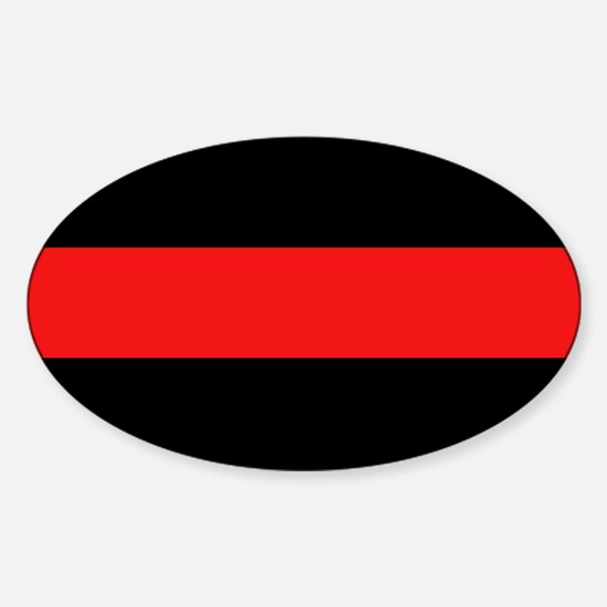 Firefighter: Red Line Sticker (Oval)