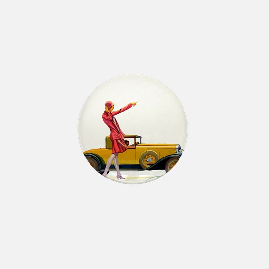 Fast Car and Flapper Lady Mini Button