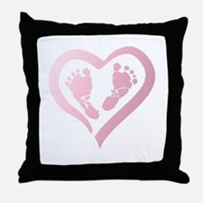 Baby Prints in Heart by LH Throw Pillow