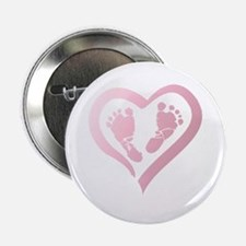 """Baby Prints in Heart by LH 2.25"""" Button"""