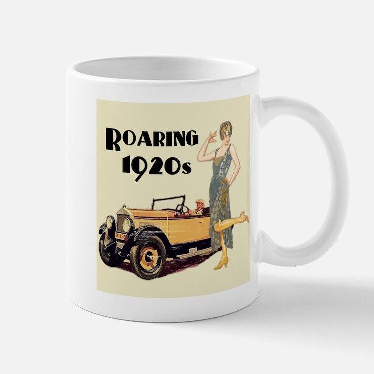 Flapper Lady and Fast Car - slogan Mugs