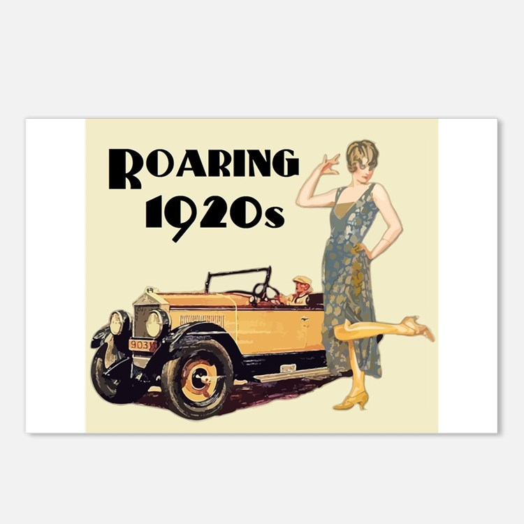 Flapper Lady and Fast Car Postcards (Package of 8)