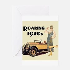 Flapper Lady and Fast Car - slogan Greeting Cards