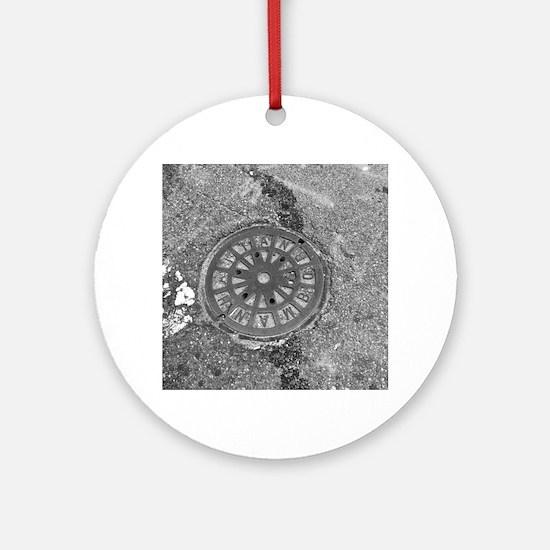 Manhole Cover Luke's Fave Round Ornament