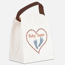 Baby Feet and Heart Canvas Lunch Bag