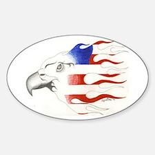 flamin eagle Oval Decal