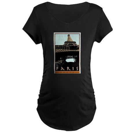 Paris, Eiffel Tower Maternity Dark T-Shirt