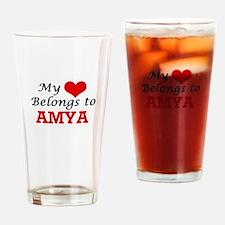 My heart belongs to Amya Drinking Glass