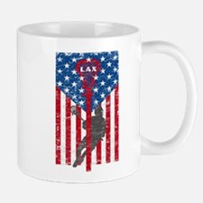 American Flag Red White and Blue LAX Lacrosse Mugs