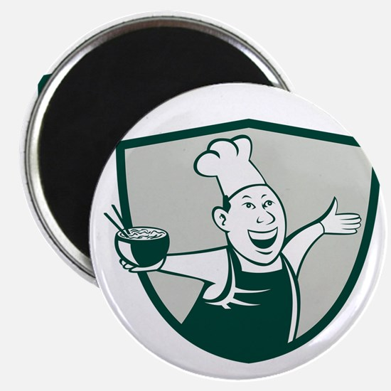 Asian Chef Serving Noodle Bowl Dancing Crest Carto