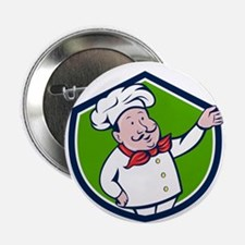 """French Chef Welcome Greeting Crest Cartoon 2.25"""" B"""
