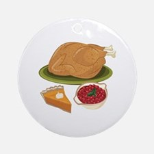Holiday Dinner Round Ornament
