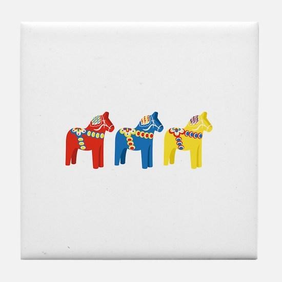 Dala Horse Border Tile Coaster