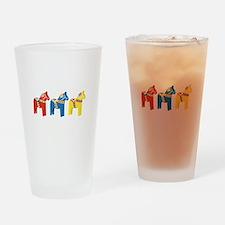 Dala Horse Border Drinking Glass