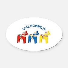 Dala Valkommen Horses Oval Car Magnet