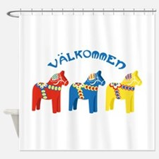 Dala Valkommen Horses Shower Curtain