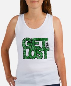 Hiker Get Lost Hiking Distressed Green Tank Top