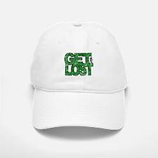 Hiker Get Lost Hiking Distressed Green Baseball Baseball Cap
