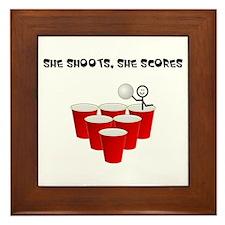 She Shoots,She Scores-Beer Pong Framed Tile