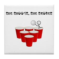 She Shoots,She Scores-Beer Pong Tile Coaster