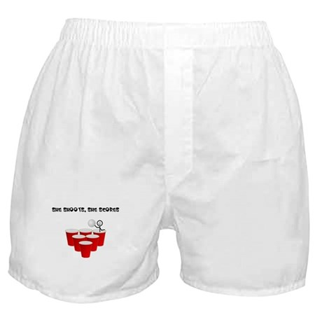 She Shoots,She Scores-Beer Pong Boxer Shorts