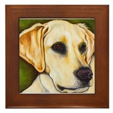 Yellow Lab Head Framed Tile