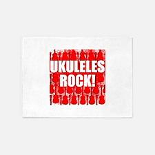Ukuleles Rock 5'x7'Area Rug