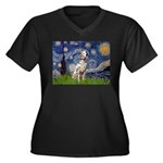 Starry /Dalmatian Women's Plus Size V-Neck Dark T-