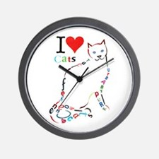 Cat Typography Wall Clock