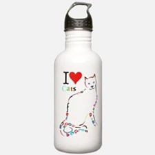 Cat typography Water Bottle
