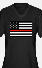 Firefighter: Women's Plus Size V-Neck Dark T-Shirt