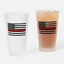 Firefighter: Black Flag & Red Line Drinking Glass