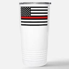 Firefighter: Black Flag Stainless Steel Travel Mug
