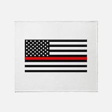 Firefighter: Black Flag & Red Line Throw Blanket
