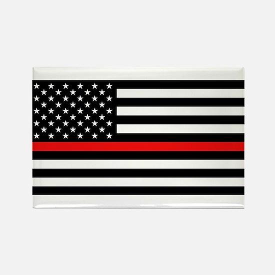 Firefighter: Black Flag & Red Lin Rectangle Magnet