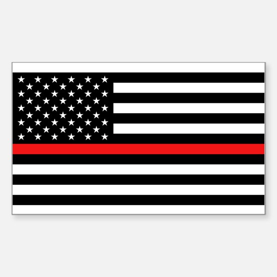 Firefighter: Black Flag & Red Sticker (Rectangle)