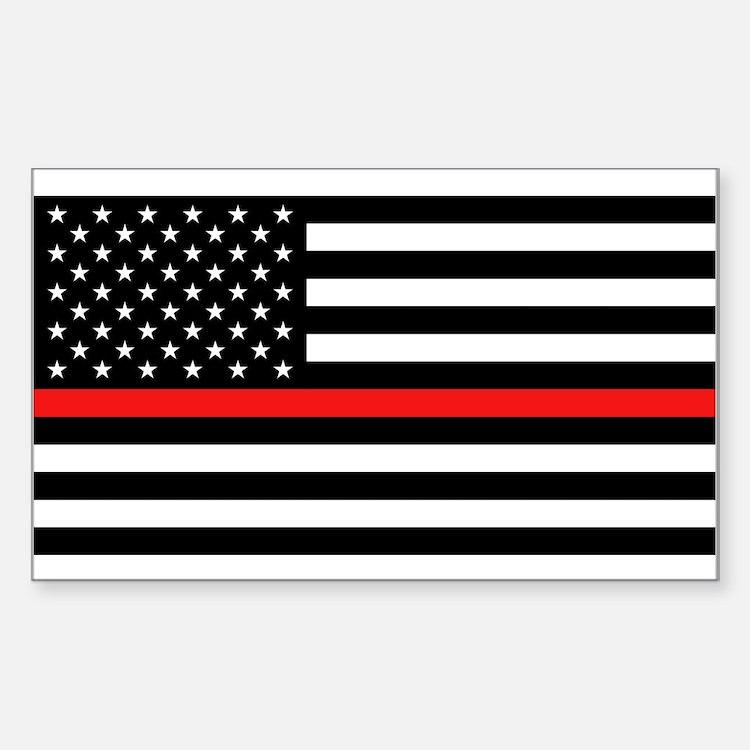Firefighter: Black Flag & Red Sticker (Rectangle)