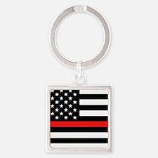 Firefighter: Black Flag & Red Line Square Keychain