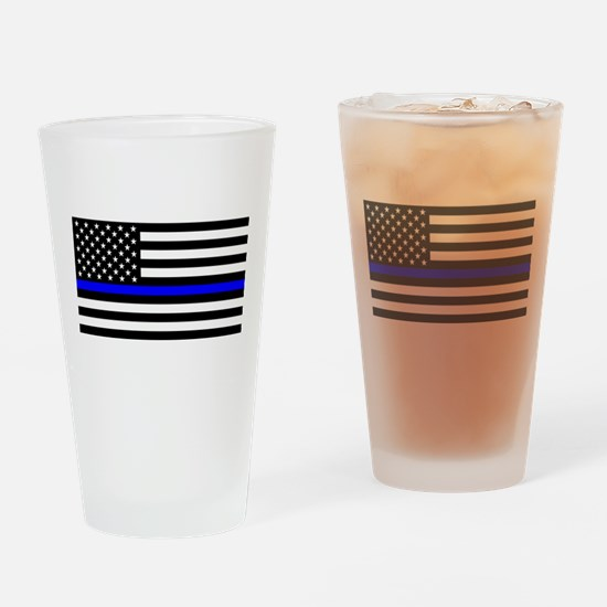Police: Clear Black Flag & Thin Blu Drinking Glass