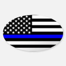 Police: Clear Black Flag & Thin Blu Sticker (Oval)